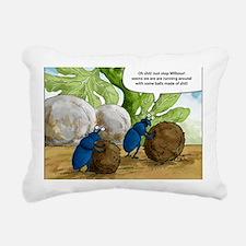 dung beetles cartoon Rectangular Canvas Pillow
