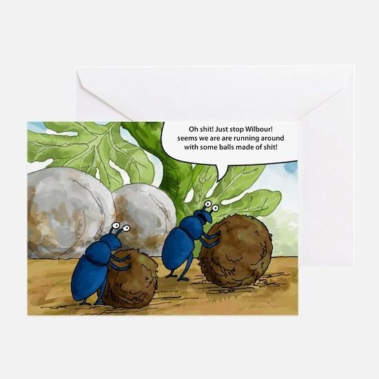 dung beetles cartoon Greeting Card
