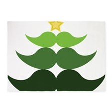 Mustache Christmas Tree 5'x7'Area Rug
