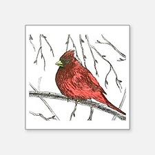 "Northern Cardinal Square Sticker 3"" x 3"""