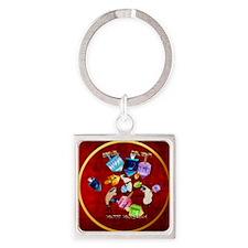 Circle Delightful Dreidels-lettere Square Keychain