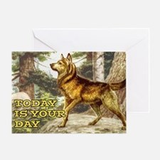 SIBERIAN HUSKY in the woods Greeting Card