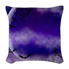 Purple Full Moon  Bats Night Woven Throw Pillow