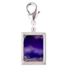 Purple Full Moon  Bats Night Silver Portrait Charm