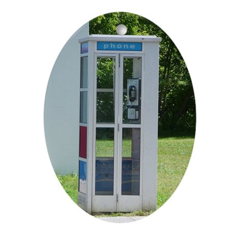 Phone Booth Oval Ornament