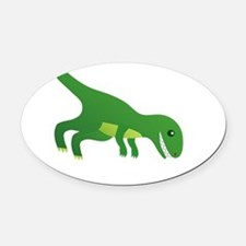 T-Rex Hates Pushups Oval Car Magnet