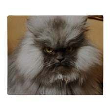 Colonel Meow scowl face Throw Blanket