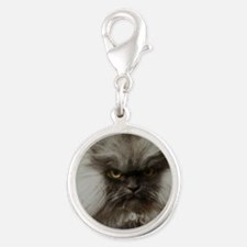 Colonel Meow scowl face Silver Round Charm
