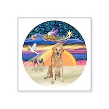 "Angel Star-Golden (K) Square Sticker 3"" x 3"""