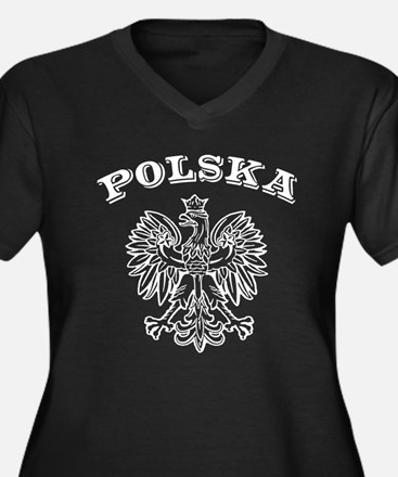 Polska Women's Plus Size V-Neck Dark T-Shirt