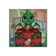 "Baby Dragon XMAS Square Sticker 3"" x 3"""