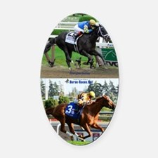 Horse Racing Notebook Oval Car Magnet