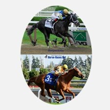 Horse Racing Notebook Oval Ornament