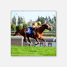 "Horse Racing Clock Square Sticker 3"" x 3"""