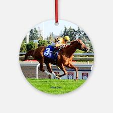 Horse Racing Clock Round Ornament