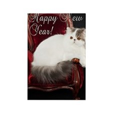 Persian Cat New Years Card Rectangle Magnet