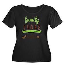 Funny Fa Women's Plus Size Dark Scoop Neck T-Shirt