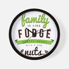 Funny Family Fudge Quote Wall Clock