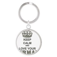 Keep Calm and LOVE Your Airman Round Keychain