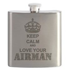 Keep Calm and LOVE Your Airman Flask