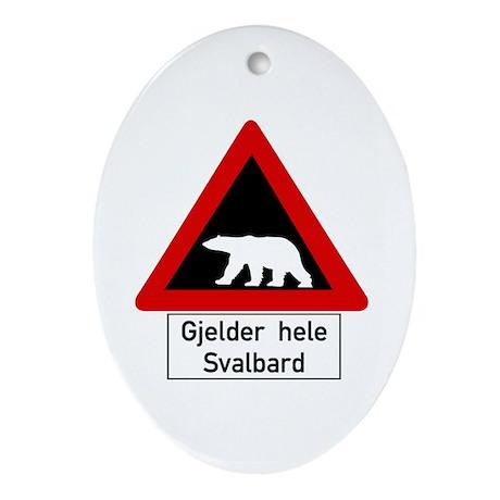 Polar Bear, Svalbard - Norway Oval Ornament
