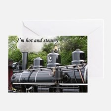 I'm hot and steamy: steam engine, Wa Greeting Card