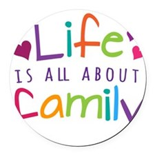 Life and Family Round Car Magnet