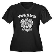 Poland Women's Plus Size V-Neck Dark T-Shirt