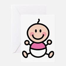Baby Girl Stick Figure Greeting Card