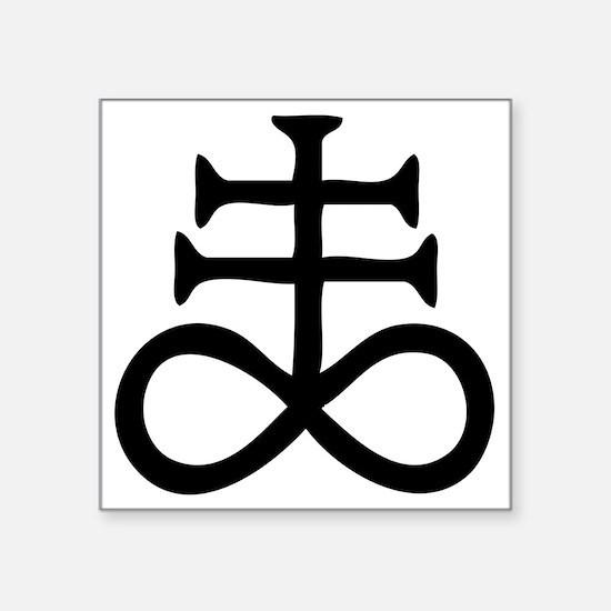 "Satanic Cross Square Sticker 3"" x 3"""