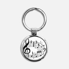 Music Notes Round Keychain