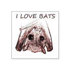 "I LOVE BATS Square Sticker 3"" x 3"""