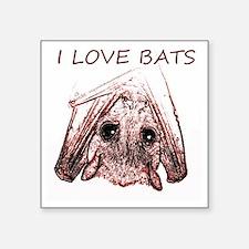 "I LOVE BATS Square Sticker 3"" x 3"""