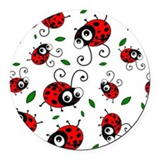 Cute Ladybug pattern Round Car Magnet