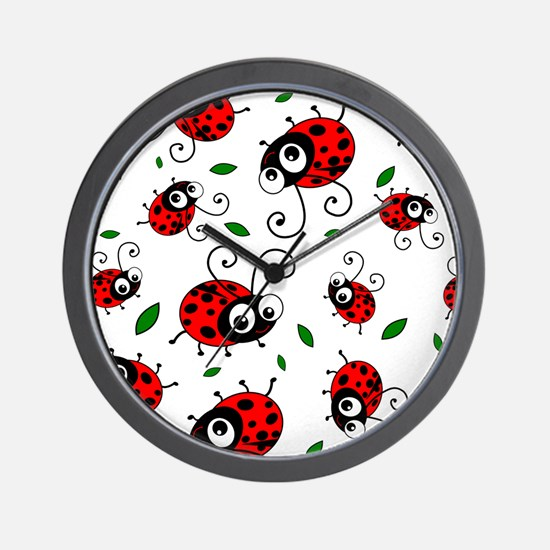 Cute Ladybug pattern Wall Clock