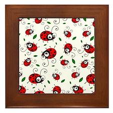 Cute Ladybug pattern Framed Tile