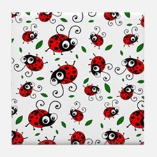 Cute Ladybug pattern Tile Coaster
