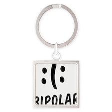 Bipolar Emoticon Square Keychain