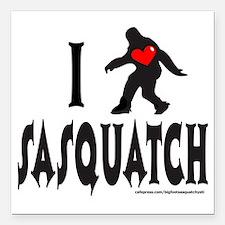 "I HEART SASQUATCH T-SHIR Square Car Magnet 3"" x 3"""