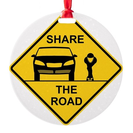 Share the road front view Round Ornament