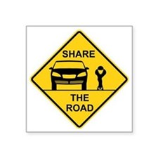 "Share the road front view Square Sticker 3"" x 3"""