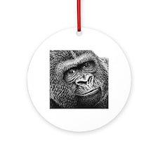 Gorilla Throw Pillow Round Ornament