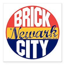 """Newark Vintage Label B Square Car Magnet 3"""" x 3"""""""