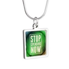 Stop Spending Now Silver Square Necklace