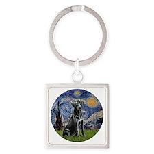 Starry-Black Labrador Square Keychain