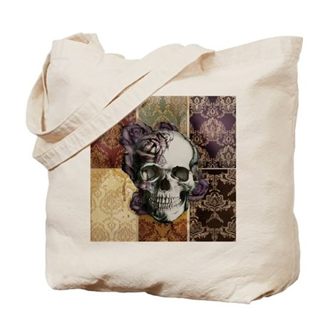 Victorian Skull and Roses Pattern Tote Bag