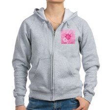 Girly Pink Retro Flowers Zipped Hoody