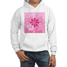 Girly Pink Retro Flowers Hoodie Sweatshirt