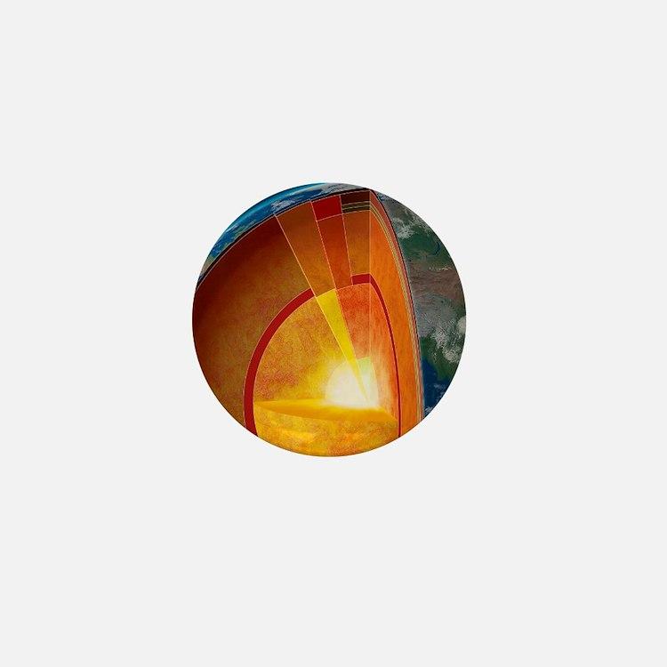 Earth's internal structure, artwork Mini Button