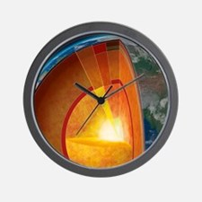 Earth's internal structure, artwork Wall Clock